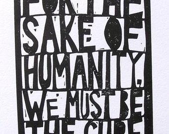 LINOCUT PRINT - Neil DeGrasse Tyson quote typographic motivational letterpress poster