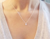 Sterling Silver Initial Necklace | Tiny Initial Necklace Silver | Personalized Necklace | Sterling Silver