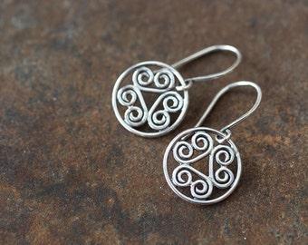 Tiny Spiral Medallion Earrings, Small silver earrings, sterling silver, Short dangle earrings, everyday earrings