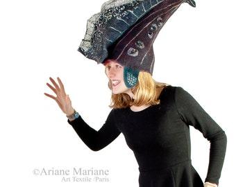 Fantasy Felt Hat  - Stylish Designer Hat Paris - Felt Wool Hat -  Eccentric Fish Tale Headpiece - Green Fashion hat- Handmade in France