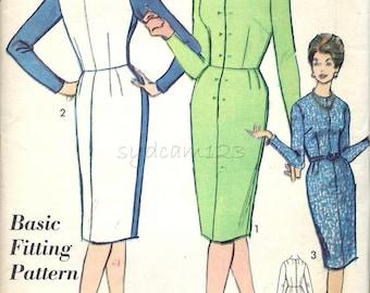 Vintage 1960s Pattern Basic Fitting Dress Pattern Sloper Shirtdress Wiggle 1962 Advance 3156 Bust 39 UNCUT