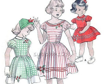 Vintage 1940s Pattern Girls Dirndl Skirt Back Buttoned Dress Bateau Neckline or Peter Pan Collar 1949 Butterick 4964 Size 2