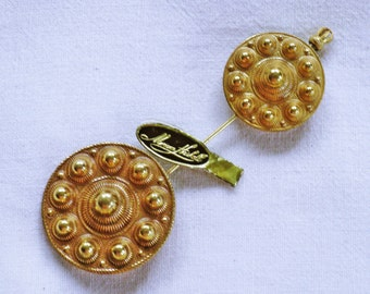 Vintage Miriam Haskell Early 1940s Gold Gilt Large Jabot Brooch Pin (B-2-3)
