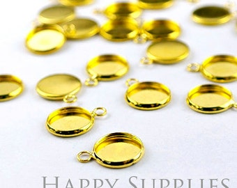 10Pcs 12 mm Golden Plated Cabochon Pendant Base with 1 loop (GD132)