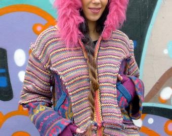 Upcycled Hoody Cardigan Jacket Pink Stripey with Sheepskin Trim                  Made in England UK