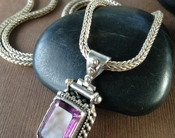 Maggie Amethyst Pendant - Estate Vintage Sterling Silver Necklace with Amethyst Pendant