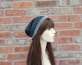 Navy Blue Hat, Polka Dot Hat,Blue and White, Slouchy Beanie, Slouchie Beanie, Slouch Beanie, Cute Beanie, Spring Beanies, Teen Girl Gifts