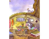 Easter Card - Easter Bunny Easter Rabbit Greeting Card - Spring Easter Watercolor Painting Print 'The Master At Work'