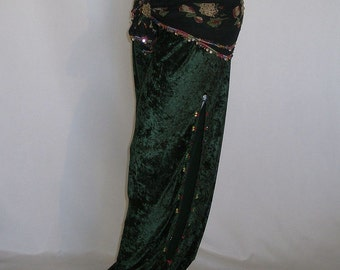 Belly Dance Pants, Harem Pants, Velvet Harem Pants, Green Velvet Belly Dance Pants, Renaissance Clothing, Gypsy Dance Costume, Pantaloons