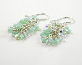 Aqua and Seafoam Waterfall  Dangle Earrings, Ethereal Cluster Earrings