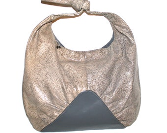 HALSTON Vintage Leather Handbag Hobo Shagreen Grey Rounded Tote - AUTHENTIC -