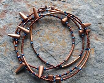 Modern tribal necklace set, metallic copper and midnight blue, multiwrap bracelet set, indie boho style, rocker jewelry, spiked necklace