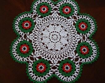 Free Shipping Holiday Christmas Crochet Beautiful Flowers Doily