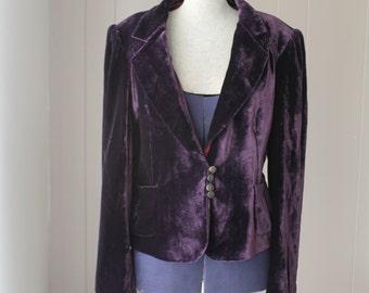90s crushed velvet Edwardian Victorian gothic jacket bohemian coat hippie jacket purple blazer with pink lining Medium