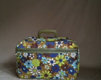 sale / vintage 1970's psychedelic suitcase / overnighter / luggage / travel bag / band gear / carry on