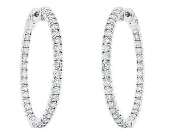 "2.86 Carat Inside & Outside Diamond Hoop Earrings 1.25"" inch 14K White Gold"