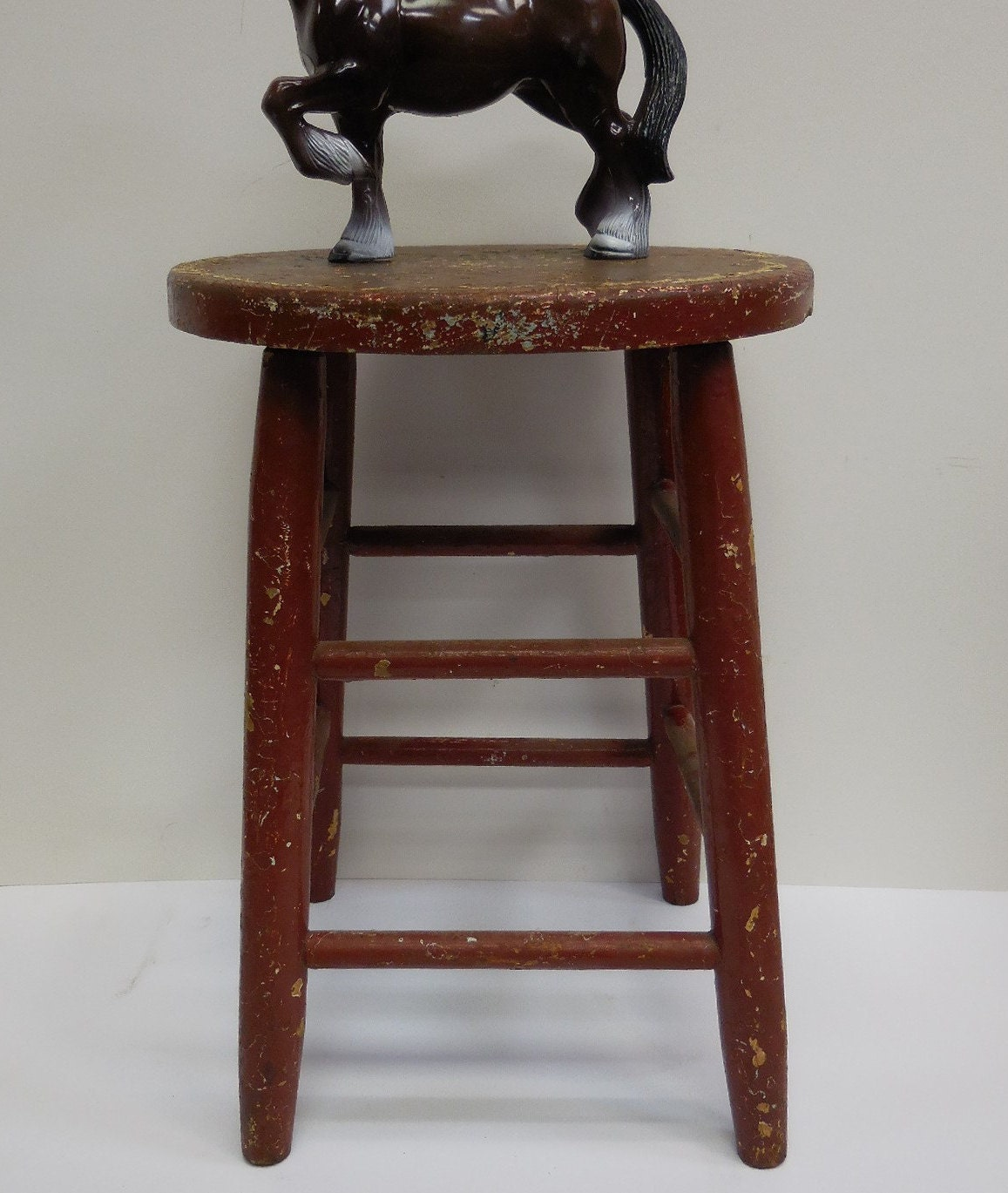Vintage Wood Stool Red Chippy Painted School By SalvageRelics. Full resolution‎  picture, nominally Width 1157 Height 1369 pixels, picture with #361B16.