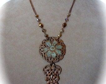 Boho Chic Filagree Floral Pendant Necklace Copper Verdigris