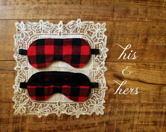 His and Hers Cabin Fever Sleep Masks 100% Cotton Red and Black Buffalo Plaid Woodland Lumberjack Flannel Handmade to Order