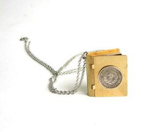 Russian coin locket necklace . brass book locket necklace . CCCP coin necklace