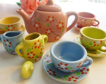 Child's Tea Set..Toddler Birthday Gift..Hand Painted Tea Set..13 Piece Porcelain Tea Set..Plus 4 Baby Washcloth Napkins and 4 Cherries :)
