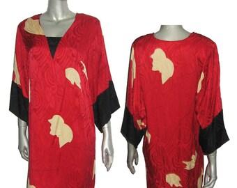 Vintage Flora Kung Red Black Beige Printed Jacquard V-Neck Kimono Silk Dress