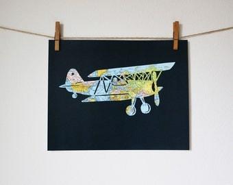 Airplane World Map Art // 11x14 Poster // Vintage Biplane // Flying Plane Artwork