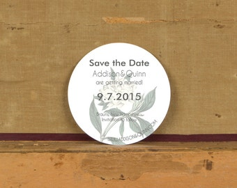 Modern Botanical Save the Date Sample,Rustic Modern Wedding Invitation, Floral Save the Dates, White floral Save the Dates, Round Invitation