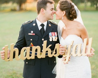 Wedding Sign Thanks Y'all Sign for Photography - Southern Wedding Thank You Sign - Thank You Card Prop (Item - TYL200)
