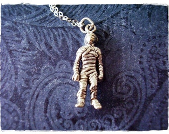 Silver Mummy Necklace - Sterling Silver Mummy Charm on a Delicate Sterling Silver Cable Chain or Charm Only