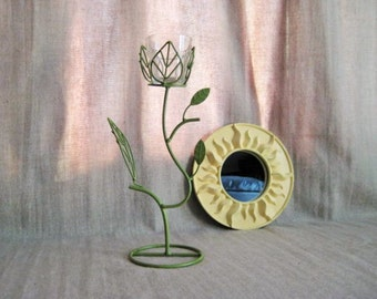Green Leaf Candle Holder / Tall Votive Candle Holder in Green Ivy