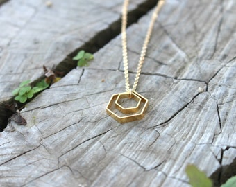 Golden Honeycomb necklace - hexagon necklace, modern geometric necklace, everyday necklace Bee Bey Hive honey comb