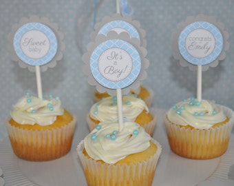 Boys Baby Shower Cupcake Toppers - Blue and Gray - Boy Baby Shower Decorations - Baby Shower Decorations - Set of 12