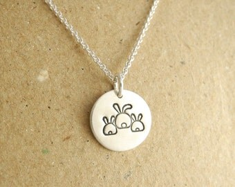 Tiny Mother and Twin Rabbit Necklace, Mom of Twins Jewelry, Mom and Two Kids, Fine Silver, Sterling Silver Chain, Made To Order
