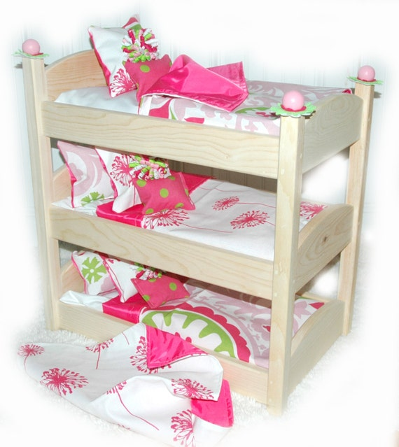 triple doll bunk bed make a wish american made girl doll bed. Black Bedroom Furniture Sets. Home Design Ideas