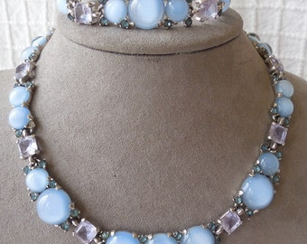 BOUCHER Signed & Numbered Blue Moonglow Cabochon Necklace and Bracelet Set