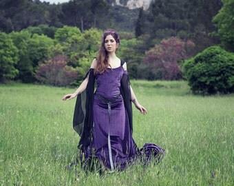 Preraphaelite Purple Violet Velvet Celtic Dress Elvish, Medieval, Pre- Raphaelite, Gothic, Faery Bridal Gown Costume