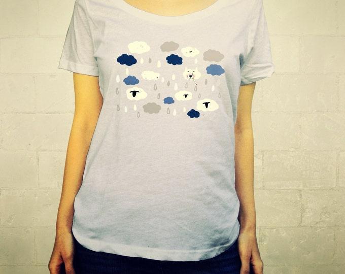 Wolf // Ladies Womens Shirt, scoop neck, T-shirt, Illustraion, Clouds, Rain, Dog, Sheep, Big Bad Wolf, Blue, Grey, Animal, Lisa Barbero
