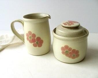 SALE Vintage Denby Gypsy Sugar Creamer Cream Stoneware England Pitcher Jug Bowl Lid Flowers Kitchen Dish Serving Coffee Tea Tableware Classy