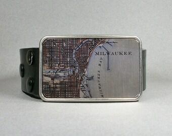 Belt Buckle Milwaukee Wisconsin Vintage Map on Metal