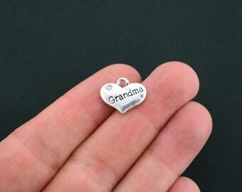 BULK 20 Grandma Heart Charms Antique Silver Tone 2 Sided Rhinestone - SC1556