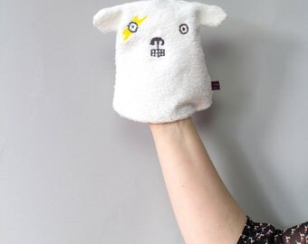 David Bowie inspired Face wipe/washcloth/puppet for baby/children - Polar Bear angry face