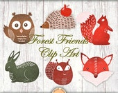 Forest Friends clip art. Hand drawn clipart images for digital scrapbooking, invitations, cards. Fox squirell owl hedgehog woodland animals
