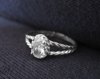 Moissanite Oval Engagement Ring, Oval Moissanite Engagement Ring, Delicate Rope Moissanite Engagement Ring, Thin Rope Engagement Ring