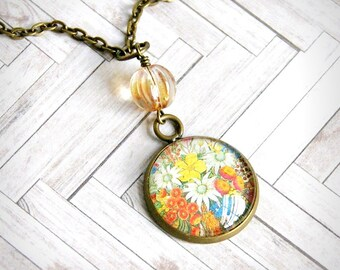 wildflowers upcycled stamp pendant, glass cabochon pendant, romantic, vintage style, antique brass
