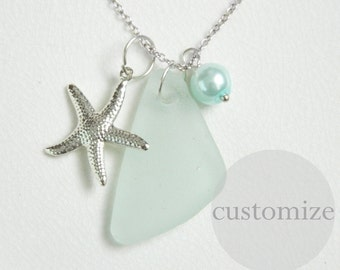 CUSTOM Seafoam Sea Glass Charm Necklace, Pearl, Starfish, Silver, Genuine Beach Glass Jewelry, Chesapeake Seaglass, Surf Tumbled