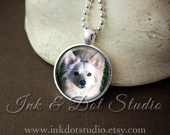 Dog Portrait Necklace, Custom Dog Necklace, Pet Portrait Pendant, Pet Photo Necklace, Dog Lover Gift, Cat Lover Gift