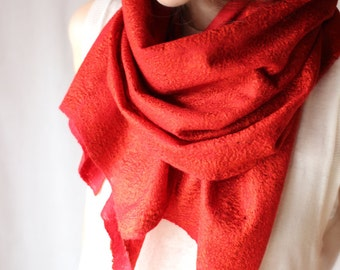 Red shawl scarf felting fire wool luxury cape wedding bridesmaid idea for her summer spring fashion