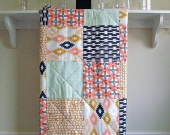 Tribal Baby Quilt - Arizona - Baby Girl Quilt, Aztec Patchwork, Southwest, Mint, Coral, Navy, White, Mustard, Handmade, Minky Back