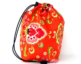 SALE - Drawstring bag - small reversible - knitting bag - orange/green flowers